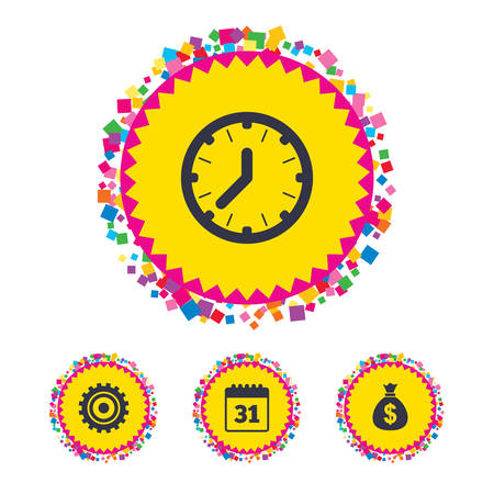 Web buttons with confetti pieces. Business icons. Calendar and mechanical clock signs. Dollar money bag and gear symbols. Bright stylish design. Vector
