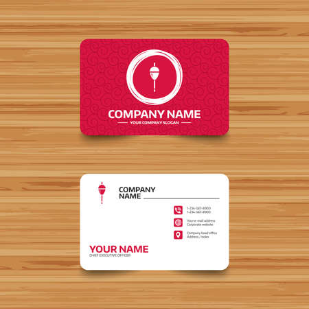 bobber: Business card template with texture. Fishing sign icon. Float bobber symbol. Fishing tackle. Phone, web and location icons. Visiting card  Vector
