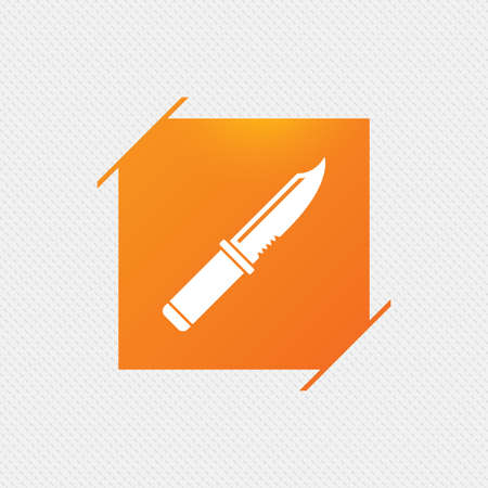 edged: Knife sign icon. Edged weapons symbol. Stab or cut. Hunting equipment. Orange square label on pattern. Vector Illustration