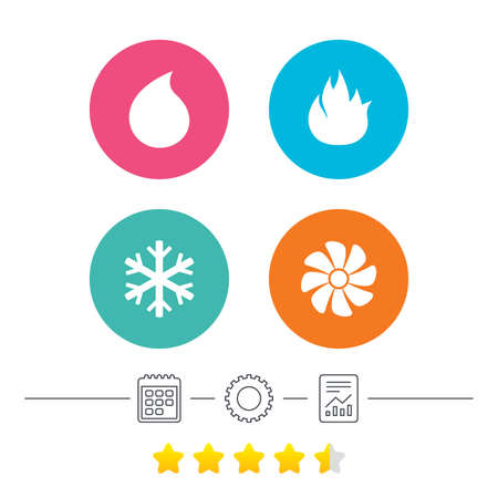 water supply: HVAC icons. Heating, ventilating and air conditioning symbols. Water supply. Climate control technology signs. Calendar, cogwheel and report linear icons. Star vote ranking. Vector Illustration
