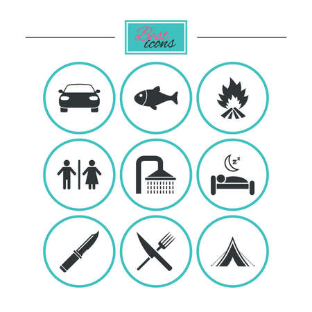 gents: Hiking travel icons. Camping, shower and wc toilet signs. Tourist tent, fork and knife symbols. Round flat buttons with icons. Vector Illustration