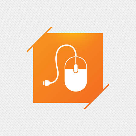 scrolling: Computer mouse sign icon. Optical with wheel symbol. Orange square label on pattern. Vector