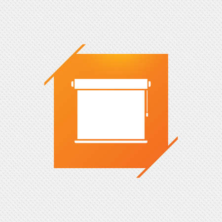jalousie: Louvers rolls sign icon. Window blinds or jalousie symbol. Orange square label on pattern. Vector Illustration