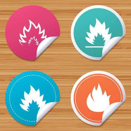 bended: Round stickers or website banners. Fire flame icons. Heat symbols. Inflammable signs. Circle badges with bended corner. Vector Illustration