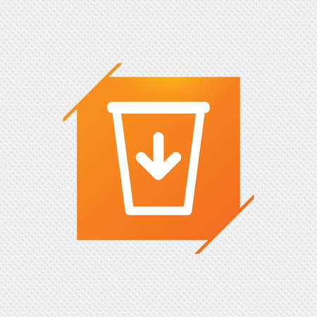 utilization: Send to the trash icon. Recycle bin sign. Orange square label on pattern. Vector Illustration