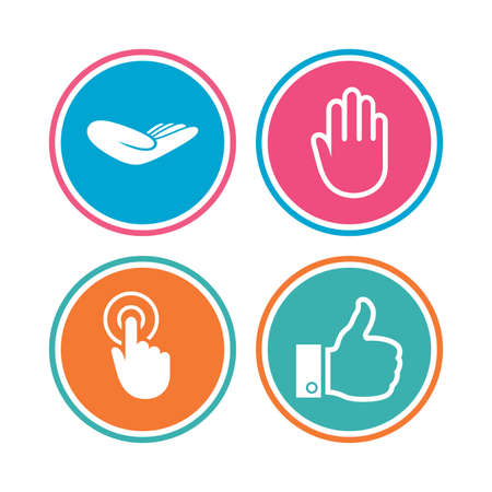 hand colored: Hand icons. Like thumb up symbol. Click here press sign. Helping donation hand. Colored circle buttons. Vector