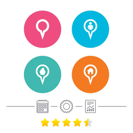 vote here: Map circle pointer icons. Home, food and user location symbols. Restaurant and cupcake signs. You are here. Calendar, cogwheel and report linear icons. Star vote ranking. Vector