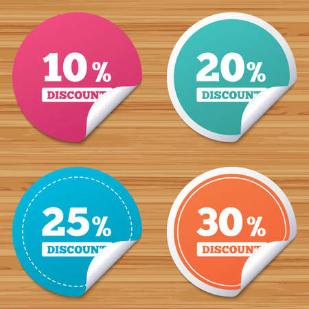 bended: Round stickers or website banners. Sale discount icons. Special offer price signs. 10, 20, 25 and 30 percent off reduction symbols. Circle badges with bended corner. Vector