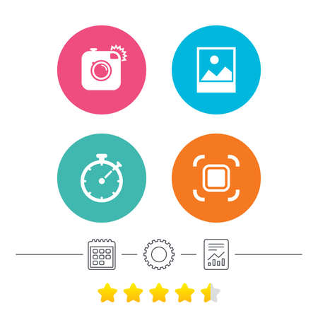 auto focus: Hipster retro photo camera icon. Autofocus zone symbol. Stopwatch timer sign. Landscape photo frame. Calendar, cogwheel and report linear icons. Star vote ranking. Vector Illustration