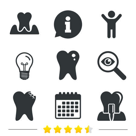 gingivitis: Dental care icons. Caries tooth sign. Tooth endosseous implant symbol. Parodontosis gingivitis sign. Information, light bulb and calendar icons. Investigate magnifier. Vector