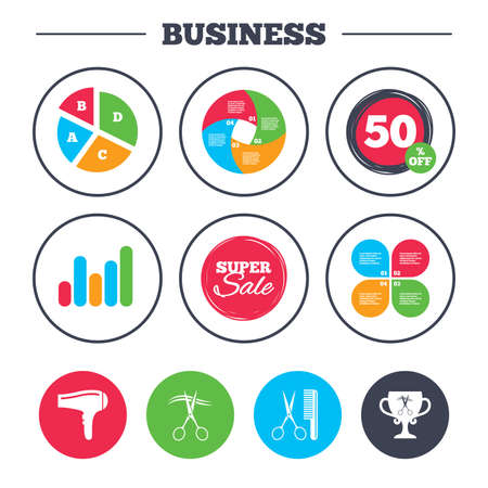 cut hair: Business pie chart. Growth graph. Hairdresser icons. Scissors cut hair symbol. Comb hair with hairdryer symbol. Barbershop winner award cup. Super sale and discount buttons. Vector Illustration