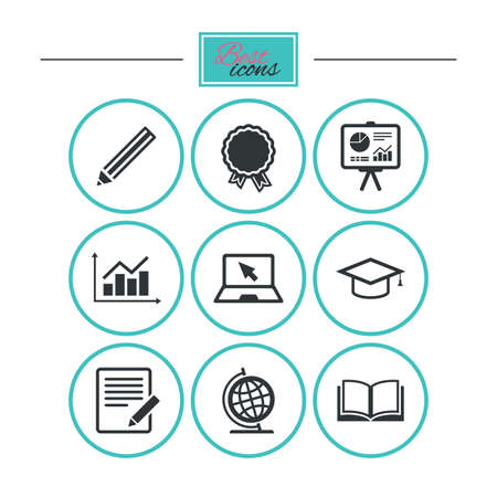 study: Education and study icon. Presentation signs. Report, analysis and award medal symbols. Round flat buttons with icons. Vector