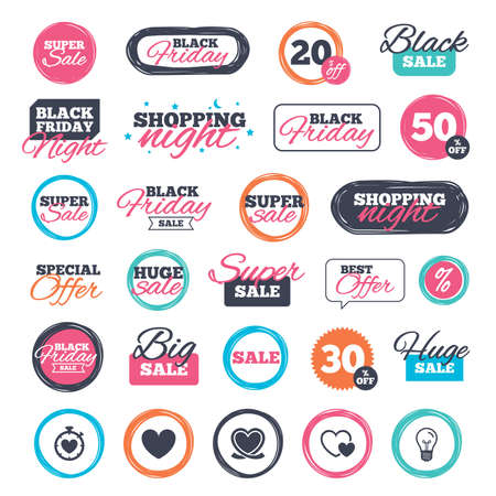palpitation: Sale shopping stickers and banners. Heart ribbon icon. Timer stopwatch symbol. Love and Heartbeat palpitation signs. Website badges. Black friday. Vector Illustration