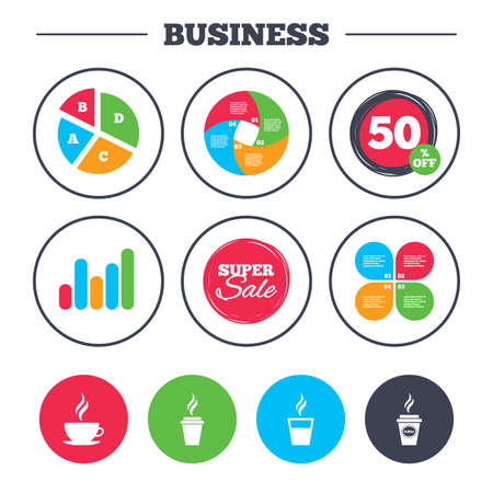 take out: Business pie chart. Growth graph. Coffee cup icon. Hot drinks glasses symbols. Take away or take-out tea beverage signs. Super sale and discount buttons. Vector Illustration