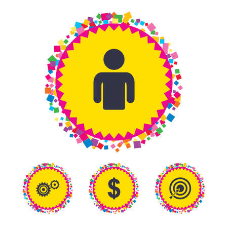 Web buttons with confetti pieces. Business icons. Human silhouette and aim targer with arrow signs. Dollar currency and gear symbols. Bright stylish design. Vector