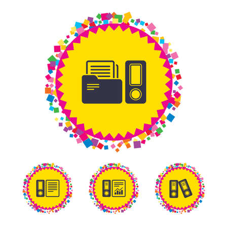 Web buttons with confetti pieces. Accounting report icons. Document storage in folders sign symbols. Bright stylish design. Vector Illustration