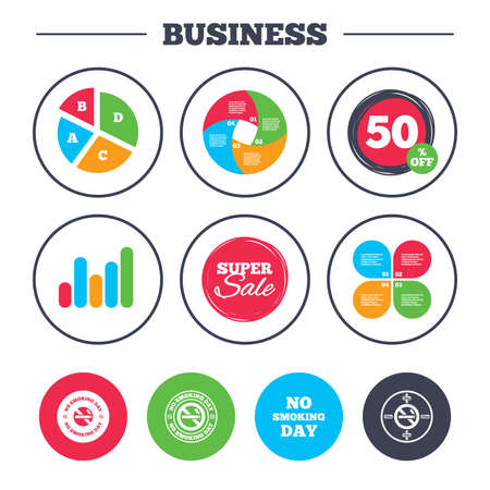 Business Pie Chart Growth Graph No Smoking Day Icons Against