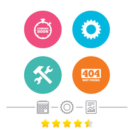 file not found: Coming soon icon. Repair service tool and gear symbols. Hammer with wrench signs. 404 Not found. Calendar, cogwheel and report linear icons. Star vote ranking. Vector