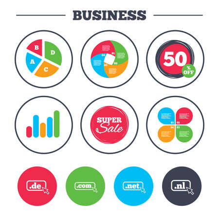 Business pie chart. Growth graph. Top-level internet domain icons. De, Com, Net and Nl symbols with cursor pointer. Unique national DNS names. Super sale and discount buttons. Vector