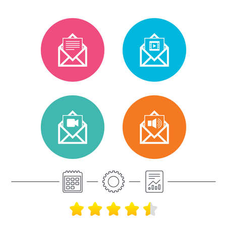 voice mail: Mail envelope icons. Message document symbols. Video and Audio voice message signs. Calendar, cogwheel and report linear icons. Star vote ranking. Vector Illustration