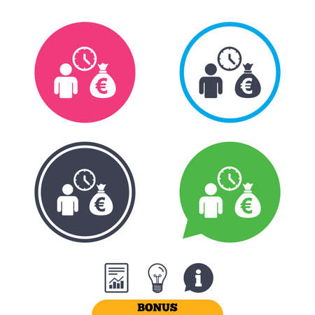 borrow: Bank loans sign icon. Get money fast symbol. Borrow money. Report document, information sign and light bulb icons. Vector