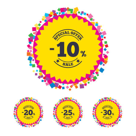 Web buttons with confetti pieces. Sale discount icons. Special offer stamp price signs. 10, 20, 25 and 30 percent off reduction symbols. Bright stylish design. Vector