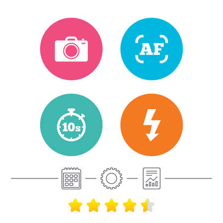 Photo camera icon. Flash light and autofocus AF symbols. Stopwatch timer 10 seconds sign. Calendar, cogwheel and report linear icons. Star vote ranking. Vector Illustration