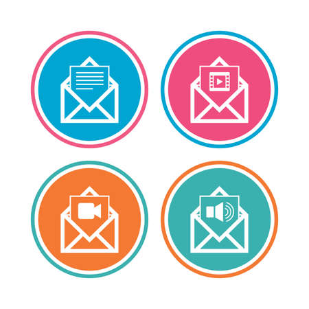 voice mail: Mail envelope icons. Message document symbols. Video and Audio voice message signs. Colored circle buttons. Vector Illustration
