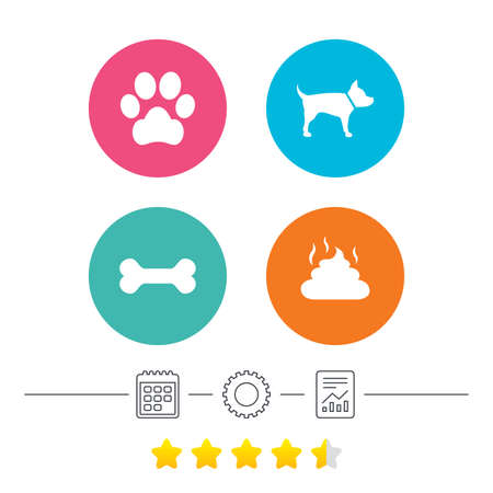 Pets icons. Dog paw and feces signs. Clean up after pets. Pets food. Calendar, cogwheel and report linear icons. Star vote ranking. Vector