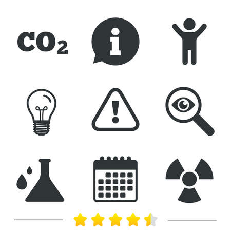 danger carbon dioxide  co2  labels: Attention and radiation icons. Chemistry flask sign. CO2 carbon dioxide symbol. Information, light bulb and calendar icons. Investigate magnifier. Vector