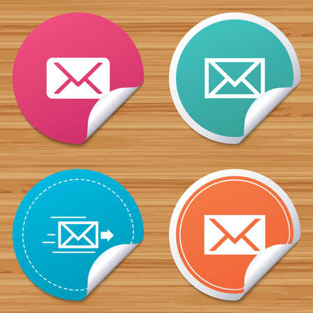 webmail: Round stickers or website banners. Mail envelope icons. Message delivery symbol. Post office letter signs. Circle badges with bended corner. Vector