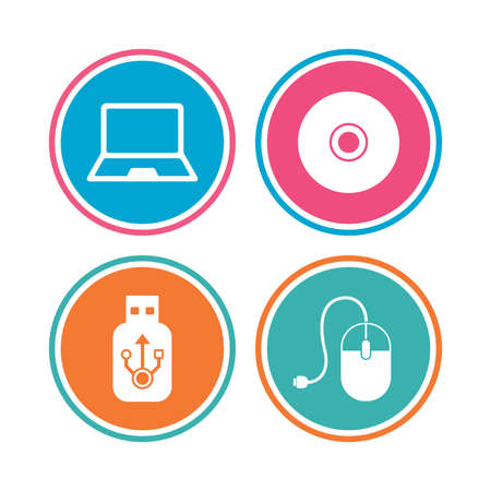optical disk: Notebook pc and Usb flash drive stick icons. Computer mouse and CD or DVD sign symbols. Colored circle buttons. Vector