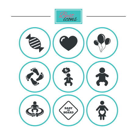 fasten: Pregnancy, maternity and baby care icons. Candy, strollers and fasten seat belt signs. Footprint, love and balloon symbols. Round flat buttons with icons. Vector Illustration