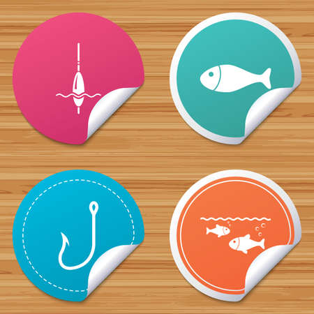 bobber: Round stickers or website banners. Fishing icons. Fish with fishermen hook sign. Float bobber symbol. Circle badges with bended corner. Vector Illustration