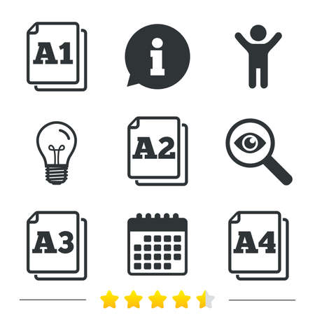 Paper size standard icons. Document symbols. A1, A2, A3 and A4 page signs. Information, light bulb and calendar icons. Investigate magnifier. Vector