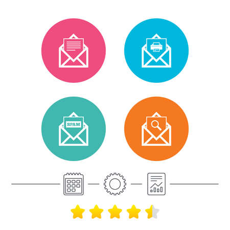 webmail: Mail envelope icons. Print message document symbol. Post office letter signs. Spam mails and search message icons. Calendar, cogwheel and report linear icons. Star vote ranking. Vector