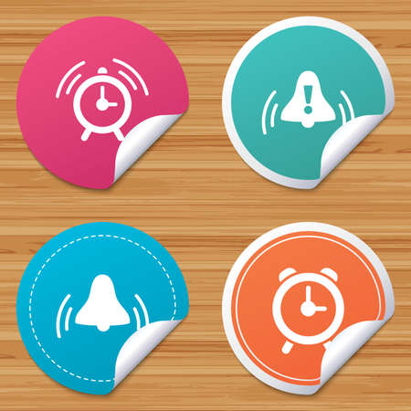 corner clock: Round stickers or website banners. Alarm clock icons. Wake up bell signs symbols. Exclamation mark. Circle badges with bended corner. Vector
