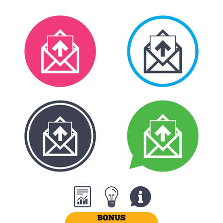 outgoing: Mail icon. Envelope symbol. Outgoing message sign. Mail navigation button. Report document, information sign and light bulb icons. Vector