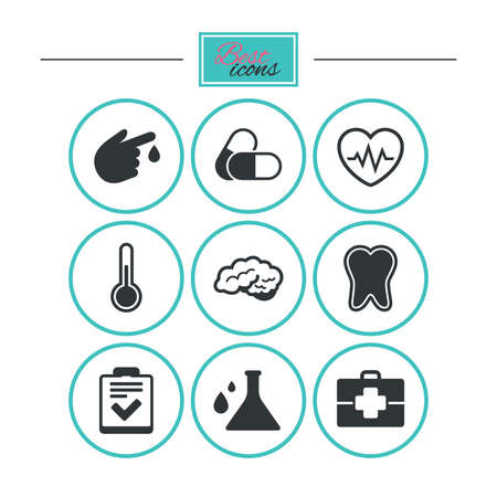 neurology: Medicine, healthcare and diagnosis icons. Tooth, pills and doctor case signs. Neurology, blood test symbols. Round flat buttons with icons. Vector