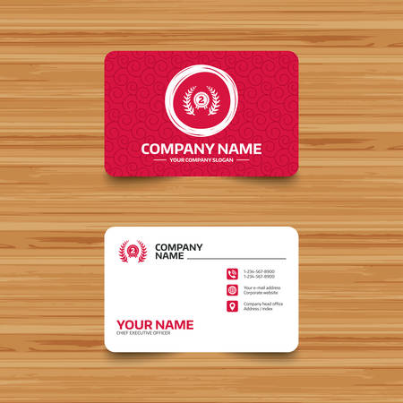 winning location: Business card template with texture. Second place award sign icon. Prize for winner symbol. Laurel Wreath. Phone, web and location icons. Visiting card  Vector