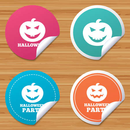 hallows: Round stickers or website banners. Halloween pumpkin icons. Halloween party sign symbol. All Hallows Day celebration. Circle badges with bended corner. Vector Illustration