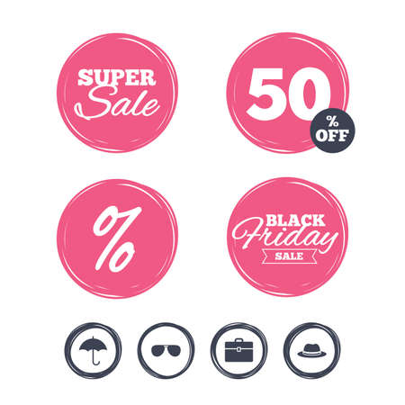 business case: Super sale and black friday stickers. Clothing accessories icons. Umbrella and sunglasses signs. Headdress hat with business case symbols. Shopping labels. Vector