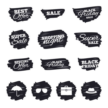 business case: Ink brush sale stripes and banners. Clothing accessories icons. Umbrella and sunglasses signs. Headdress hat with business case symbols. Black friday. Ink stroke. Vector