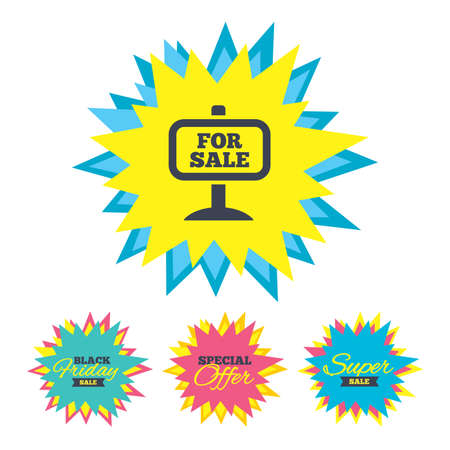 Sale stickers and banners. For sale sign icon. Real estate selling. Star labels. Vector