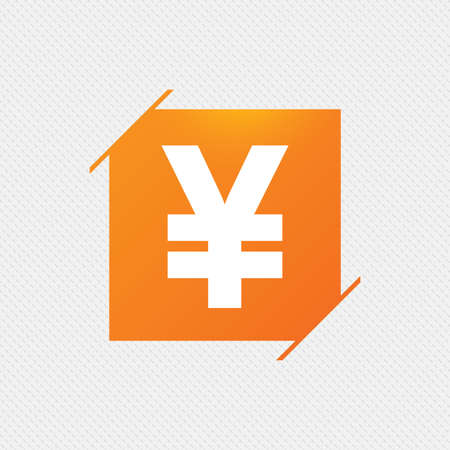 Yen Sign Icon Jpy Currency Symbol Money Label Orange Square