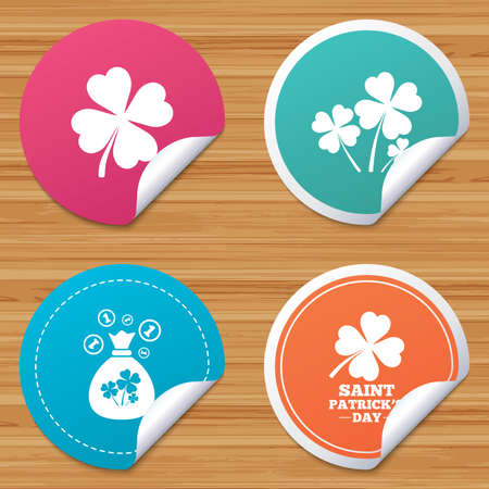 clover buttons: Round stickers or website banners. Saint Patrick day icons. Money bag with clovers and coins sign. Symbol of good luck. Circle badges with bended corner. Vector