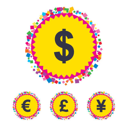 Web buttons with confetti pieces. Dollar, Euro, Pound and Yen currency icons. USD, EUR, GBP and JPY money sign symbols. Bright stylish design. Vector Illustration