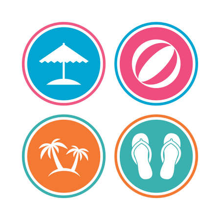 Beach holidays icons. Ball, umbrella and flip-flops sandals signs. Palm trees symbol. Colored circle buttons. Vector Illustration