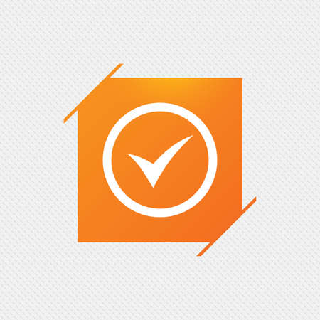 Check mark sign icon. Yes circle symbol. Confirm approved. Orange square label on pattern. Vector Illustration