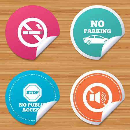 private access: Round stickers or website banners. Stop smoking and no sound signs. Private territory parking or public access. Cigarette symbol. Speaker volume. Circle badges with bended corner. Vector